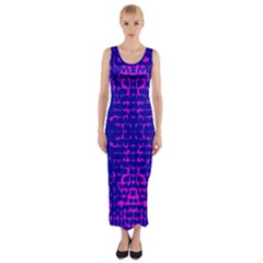 Blue And Pink Pixel Pattern Fitted Maxi Dress