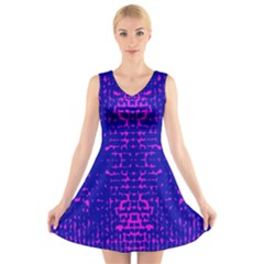 Blue And Pink Pixel Pattern V-Neck Sleeveless Skater Dress