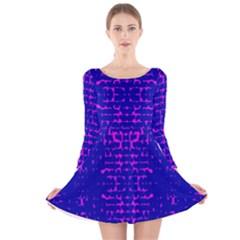 Blue And Pink Pixel Pattern Long Sleeve Velvet Skater Dress