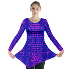 Blue And Pink Pixel Pattern Long Sleeve Tunic