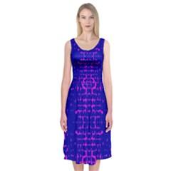 Blue And Pink Pixel Pattern Midi Sleeveless Dress