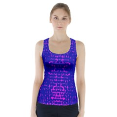 Blue And Pink Pixel Pattern Racer Back Sports Top