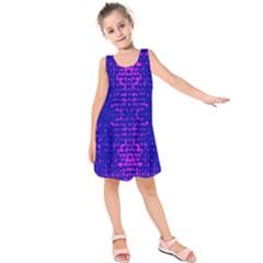 Blue And Pink Pixel Pattern Kids  Sleeveless Dress