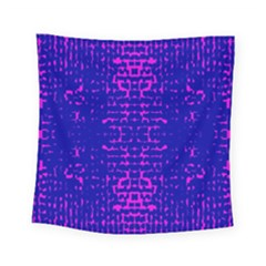 Blue And Pink Pixel Pattern Square Tapestry (small)
