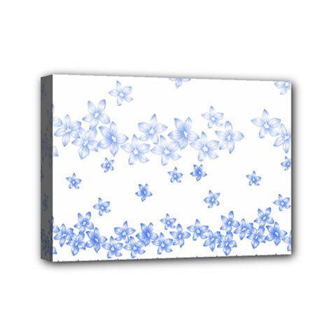 Blue And White Floral Background Mini Canvas 7  X 5
