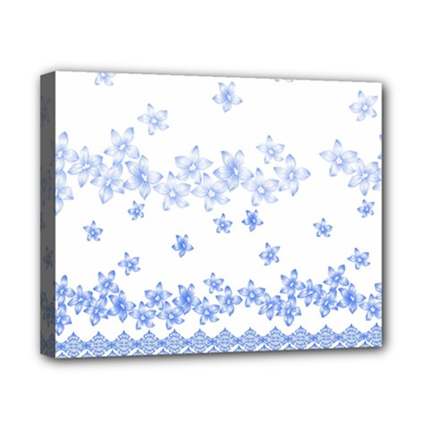 Blue And White Floral Background Canvas 10  X 8