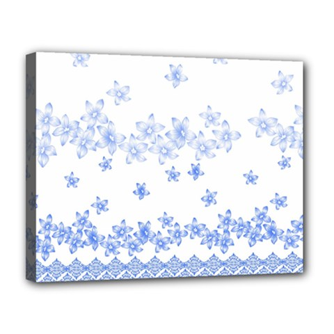Blue And White Floral Background Canvas 14  X 11