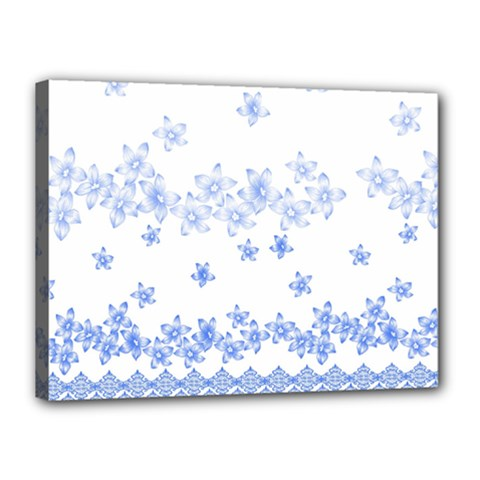 Blue And White Floral Background Canvas 16  X 12