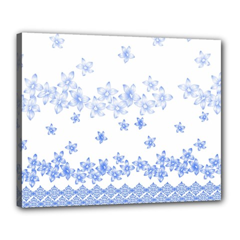 Blue And White Floral Background Canvas 20  x 16
