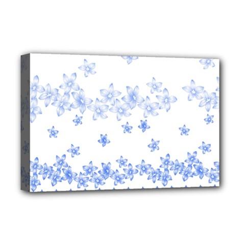 Blue And White Floral Background Deluxe Canvas 18  X 12