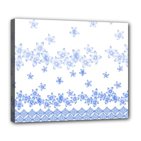 Blue And White Floral Background Deluxe Canvas 24  X 20