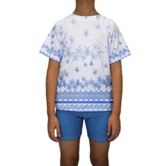 Blue And White Floral Background Kids  Short Sleeve Swimwear