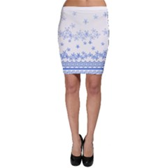 Blue And White Floral Background Bodycon Skirt