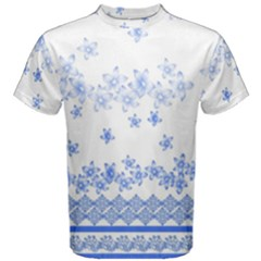 Blue And White Floral Background Men s Cotton Tee
