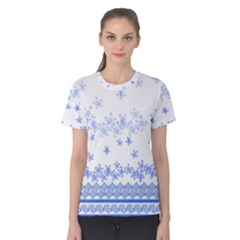Blue And White Floral Background Women s Cotton Tee