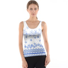 Blue And White Floral Background Tank Top