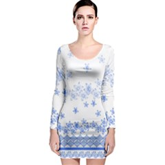Blue And White Floral Background Long Sleeve Bodycon Dress