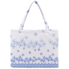 Blue And White Floral Background Mini Tote Bag