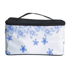 Blue And White Floral Background Cosmetic Storage Case