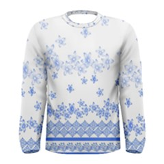Blue And White Floral Background Men s Long Sleeve Tee
