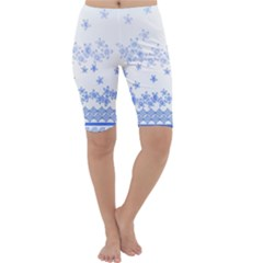 Blue And White Floral Background Cropped Leggings