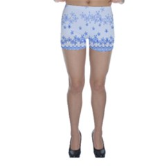 Blue And White Floral Background Skinny Shorts