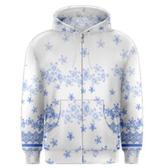 Blue And White Floral Background Men s Zipper Hoodie