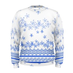 Blue And White Floral Background Men s Sweatshirt