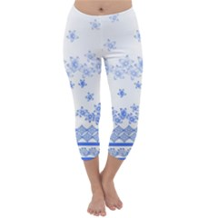 Blue And White Floral Background Capri Winter Leggings