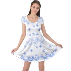 Blue And White Floral Background Cap Sleeve Dresses
