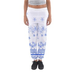 Blue And White Floral Background Women s Jogger Sweatpants