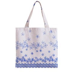 Blue And White Floral Background Zipper Grocery Tote Bag