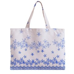Blue And White Floral Background Zipper Mini Tote Bag