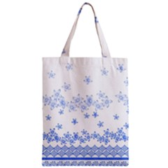 Blue And White Floral Background Zipper Classic Tote Bag