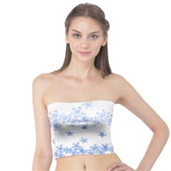 Blue And White Floral Background Tube Top