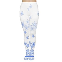 Blue And White Floral Background Women s Tights