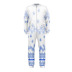 Blue And White Floral Background Onepiece Jumpsuit (kids)