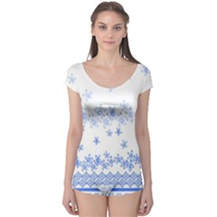 Blue And White Floral Background Boyleg Leotard