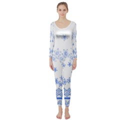 Blue And White Floral Background Long Sleeve Catsuit