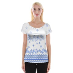 Blue And White Floral Background Women s Cap Sleeve Top