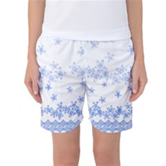 Blue And White Floral Background Women s Basketball Shorts