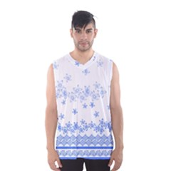 Blue And White Floral Background Men s Basketball Tank Top