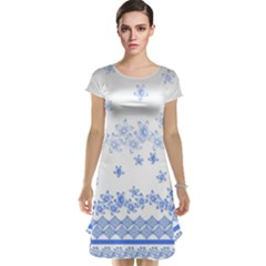 Blue And White Floral Background Cap Sleeve Nightdress