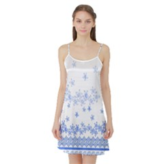 Blue And White Floral Background Satin Night Slip