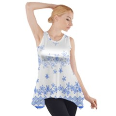 Blue And White Floral Background Side Drop Tank Tunic