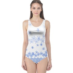 Blue And White Floral Background One Piece Swimsuit