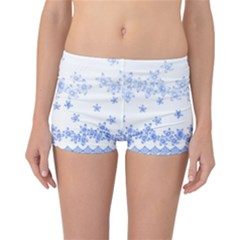 Blue And White Floral Background Reversible Bikini Bottoms
