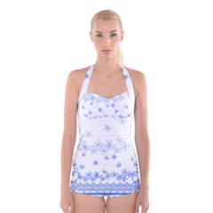 Blue And White Floral Background Boyleg Halter Swimsuit