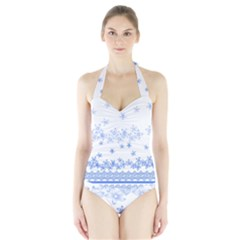 Blue And White Floral Background Halter Swimsuit