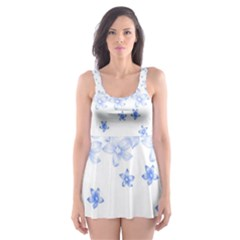 Blue And White Floral Background Skater Dress Swimsuit